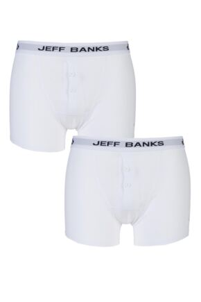 Mens 2 Pack Jeff Banks Plymouth Button Cotton Boxer Shorts White S