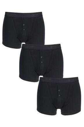Mens 3 Pack Jeff Banks Marlow Buttoned Boxer Shorts Black L