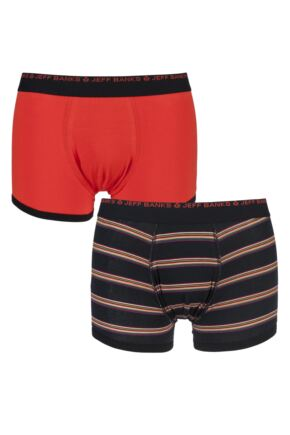 Mens 2 Pack Jeff Banks Banbury Plain and Striped Cotton Boxer Shorts
