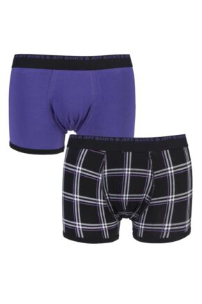 Mens 2 Pack Jeff Banks Newbury Plain and Chequered Cotton Boxer Shorts