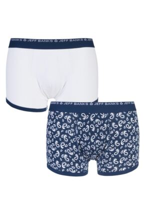 Mens 2 Pack Jeff Banks Stockport Plain and Paisley Cotton Trunks