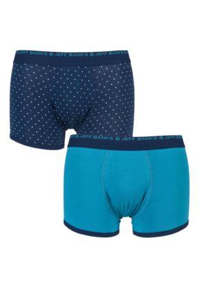 Mens 2 Pack Jeff Banks Plain and Dot Boxer Shorts