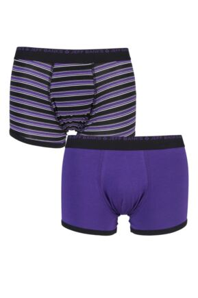 Mens 2 Pack Jeff Banks Plain and Stripe Boxer Shorts Purple Extra Large