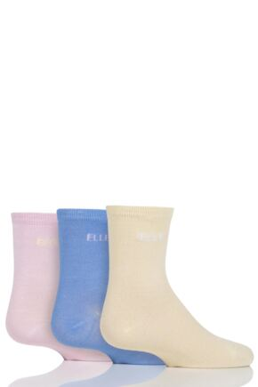 Girls 3 Pair Young Elle Plain Bamboo Socks