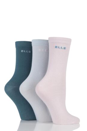 Girls 3 Pair Elle Plain Cotton Socks