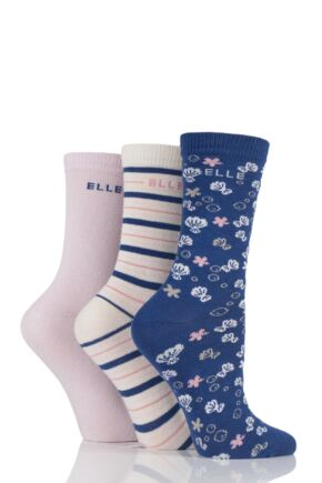 Girls 3 Pair Elle Patterned Cotton Socks Coral Reef 6-12 Kids