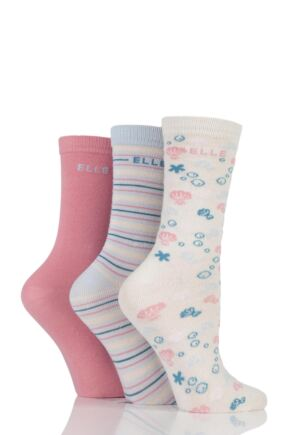 Girls 3 Pair Elle Patterned Cotton Socks