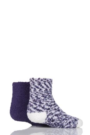 Girls 2 Pair Elle Cosy Bed and Slipper Socks Blackberry 4-5.5 Teens
