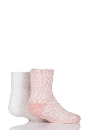 Girls 2 Pair Elle Cosy Bed and Slipper Socks Quartz Pink 4-5.5 Teens