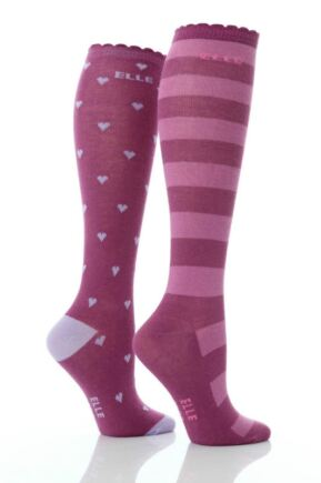 Girls-2-Pair-Young-Elle-Lilac-Hearts-Stripe-Over-Knee