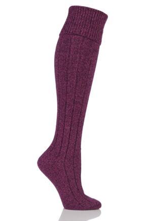 Ladies 1 Pair Scott Nichol Charnwood 70% Wool Turn Over Top Wellington Boot Socks Raspberry Marl 4-8