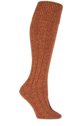Ladies 1 Pair Scott Nichol Charnwood 70% Wool Turn Over Top Wellington Boot Socks Russet 4-8