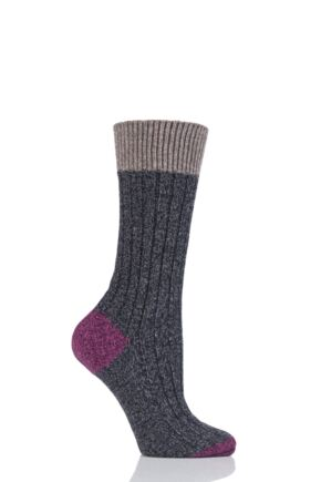 Ladies 1 Pair Scott Nichol Moseley Contrast Heel and Toe Wool Socks Charcoal 4-7 Ladies