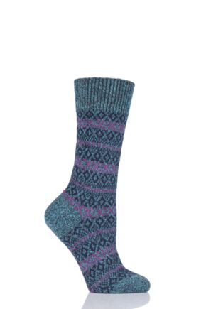 Ladies 1 Pair Scott Nichol Figsbury Fairisle Wool Socks Jade 4-7 Ladies