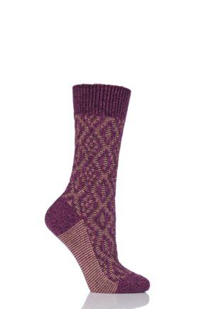 Ladies 1 Pair Scott Nichol Tatton Cable Stitch Wool Socks Raspberry 4-7