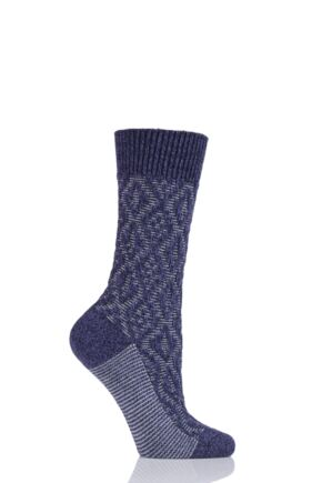 Ladies 1 Pair Scott Nichol Tatton Cable Stitch Wool Socks Blackberry 4-7