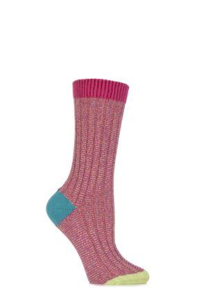 Ladies 1 Pair Scott Nichol Jasmine Ribbed Contrast Top, Heel and Toe Cotton Socks Shocking Pink 4-7