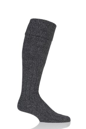 Mens 1 Pair Scott Nichol Wool Turn Over Top Wellington Boot Socks Charcoal Marl 6-8.5 Mens