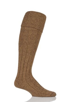 Mens 1 Pair Scott Nichol Wool Turn Over Top Wellington Boot Socks Mustard Marl 6-8.5 Mens