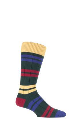 Mens 1 Pair Scott Nichol Team Collection Aylestonian Cotton Double Striped Socks 25% OFF Conifer 9-11