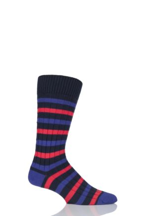Scott Nichol Merton Rib Striped Cotton Socks with Contrast Heel and Toe