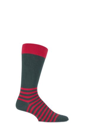 Mens 1 Pair Scott Nichol Team Collection The Ranelagh Cotton Striped Foot Socks 25% OFF Conifer 9-11