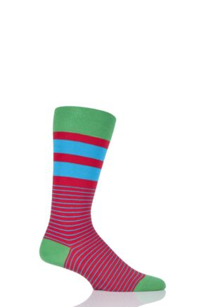 Mens 1 Pair Scott Nichol Spinnaker Nautical Striped Socks with Contrast Heel, Toe and Top Red 9-11