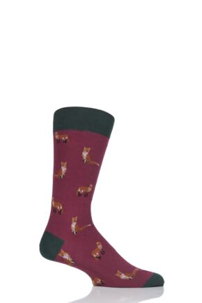 Mens 1 Pair Scott Nichol Farnley All Over Foxes Cotton Socks