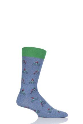 Mens 1 Pair Scott Nichol All Over Penny Farthing Cotton Socks