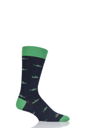 Mens 1 Pair Scott Nichol Taswood All Over Fish Cotton Socks