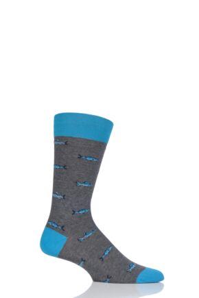 Mens 1 Pair Scott Nichol Taswood All Over Fish Cotton Socks