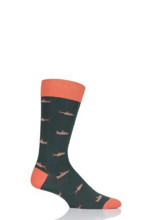 Mens 1 Pair Scott Nichol Taswood All Over Fish Cotton Socks Conifer 6-9 Mens