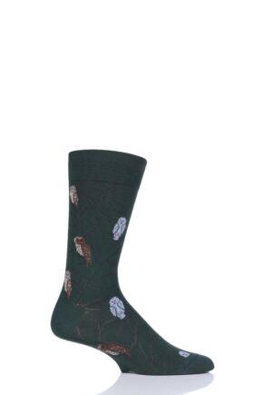Mens 1 Pair Scott Nichol All Over Owls Cotton Socks Conifer 9.5-12 Mens