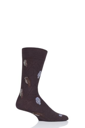 Mens 1 Pair Scott Nichol All Over Owls Cotton Socks Mocha 6-9 Mens
