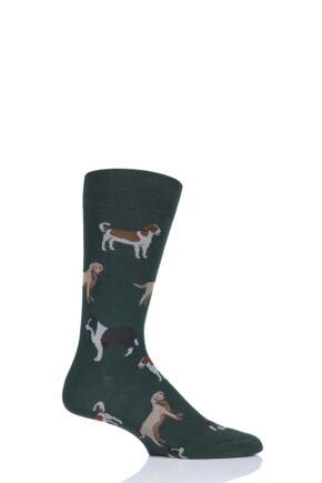 Mens 1 Pair Scott Nichol All Over Dogs Cotton Socks Conifer 9.5-12 Mens