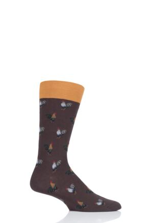 Mens 1 Pair Scott Nichol All Over Roosters Cotton Socks Mocha 9-11.5 Mens