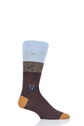 Mens 1 Pair Scott Nichol Scafell Landrover Cotton Socks Chocolate 9.5-12 Mens