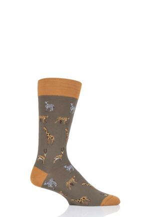 Mens 1 Pair Scott Nichol Serengeti All Over Animals Cotton Socks Khaki 9.5-12 Mens