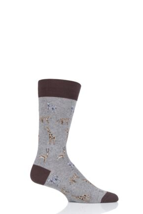 Mens 1 Pair Scott Nichol Serengeti All Over Animals Cotton Socks