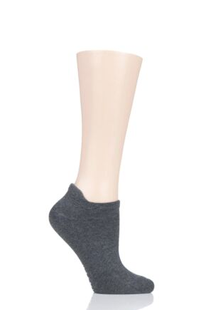 Ladies 1 Pair Tavi Noir Alex Organic Cotton Casual Trainer Socks Charcoal One Size