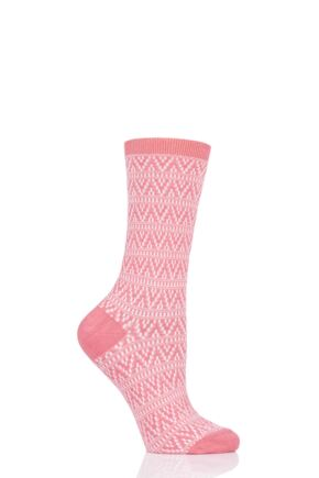 Ladies 1 Pair Tavi Noir Catarina Casual Braided Socks Corallo One Size