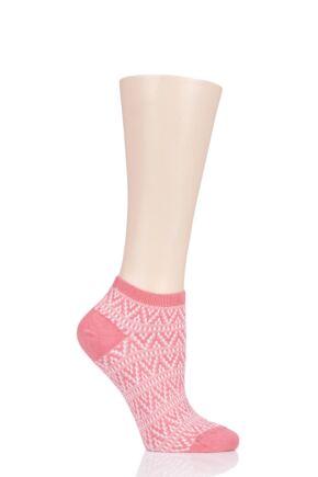 Ladies 1 Pair Tavi Noir Sophia Casual Braided Trainer Socks Corallo One Size