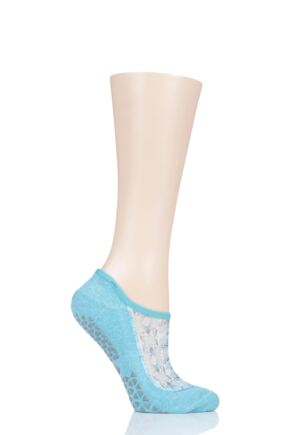 Ladies 1 Pair Tavi Noir Maddie Organic Cotton Sheer Top Yoga Socks with Grip