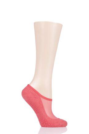 Ladies 1 Pair Tavi Noir Maddie Organic Cotton Sheer Top Yoga Socks with Grip