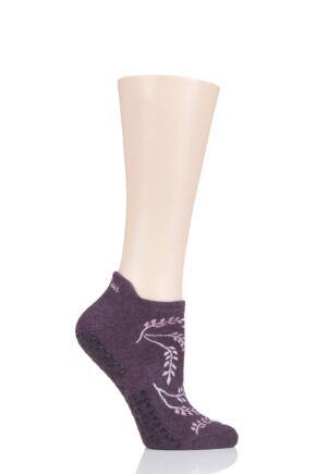 Ladies 1 Pair Tavi Noir Savvy Organic Cotton Low Rise Yoga Socks with Grip Mystic Small