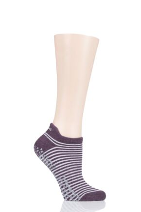 Ladies 1 Pair Tavi Noir Savvy Organic Cotton Low Rise Yoga Socks with Grip Trouble Small