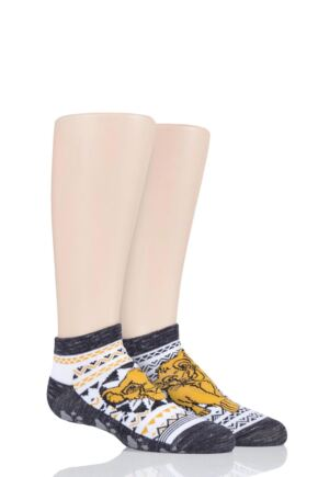 Boys and Girls 2 Pair Tavi Noir with Disney Tiny Soles Lion King Gripper Socks