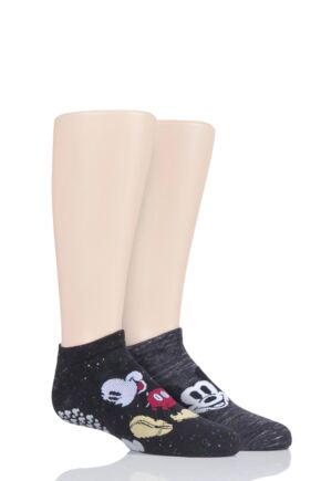 Boys and Girls 2 Pair Tavi Noir with Disney Tiny Soles Mickey Gripper Socks
