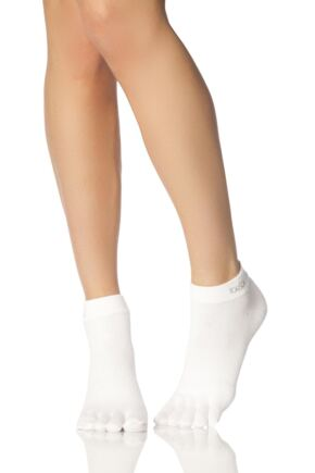Mens and Ladies 1 Pair ToeSox Lightweight Full Toe Ankle Sports Socks In White White 6-8.5