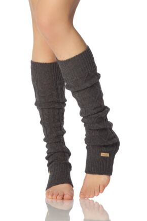 Ladies 1 Pair ToeSox Dance and Yoga Legwarmers Charcoal OS